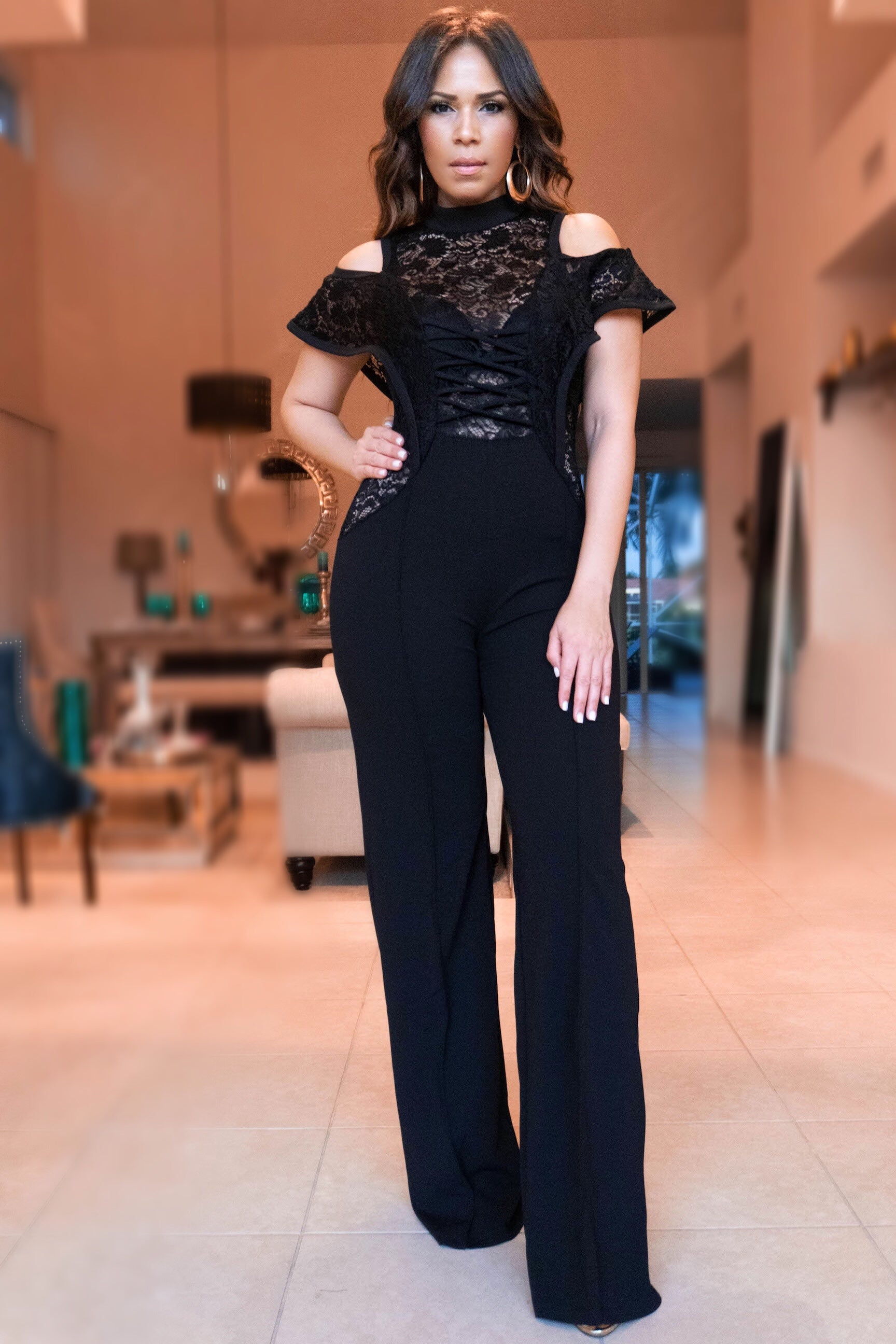 dad5b2195a0d7 Antonia Laced Up Classy Jumpsuit W  Floral Lace Inserts - MY SEXY STYLES