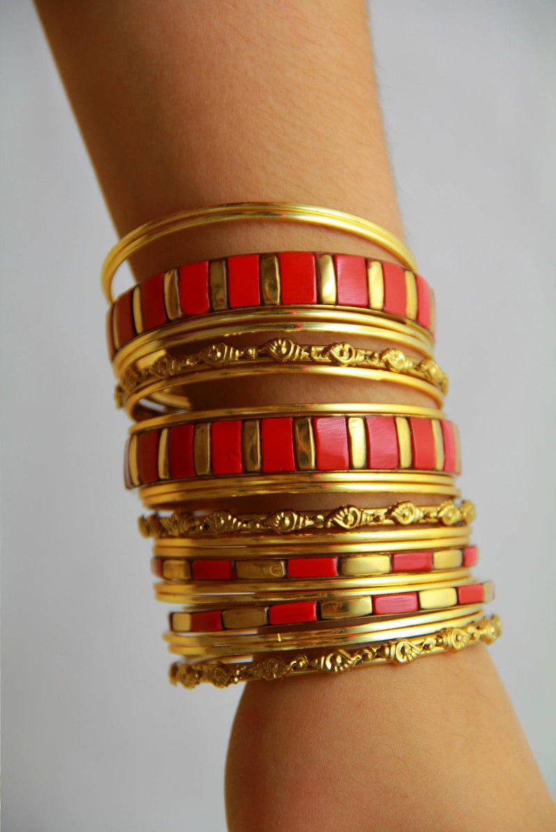 Brooklyn Bangle Bracelets Set - Red - MY SEXY STYLES