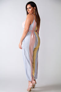 Ariel Oversized Light Pink Belted Jumpsuit