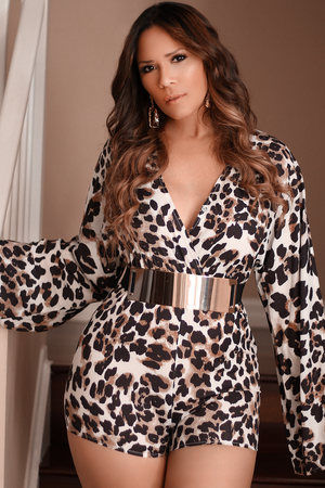 Arya Long Sleeves Animal Print V Neck Summer Romper Jumpsuit
