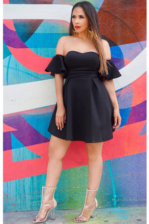 Ashley Off The Shoulder Cocktail Dress W/ Ruffled Short Sleeves In Black - MY SEXY STYLES