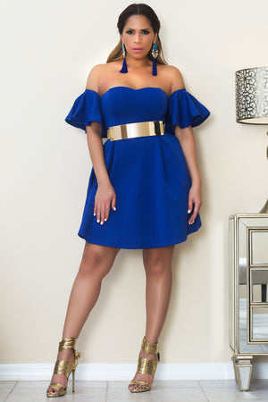 Ashley Off The Shoulder Cocktail Dress W/ Ruffled Short Sleeves In Royal Blue - MY SEXY STYLES