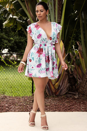 Ashlynn Floral Print Sexy Deep V-Neck Casual Mini Dress - MY SEXY STYLES