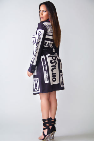 Aurora Letter Print Long Sleeves Belted Shirt Dress