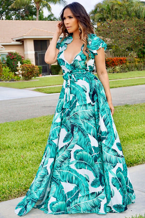 Aurora Tropical Green Leaves Print Goddess Maxi Skirt and Wrapped Top Set - MY SEXY STYLES