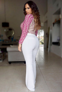 Nava Chic Magenta Ivory Long Sleeved Sweater - MY SEXY STYLES