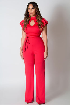 Aviana Casual Mock-Neck Short Ruffles Sleeve Wide Leg Jumpsuit