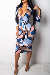 Paulina Blue Colorblock Print Quarter Sleeves Bodycon Dress