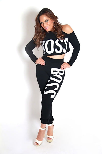 BOSS High Waisted Leggings and Cutout Shoulder Crop Top Set in Black