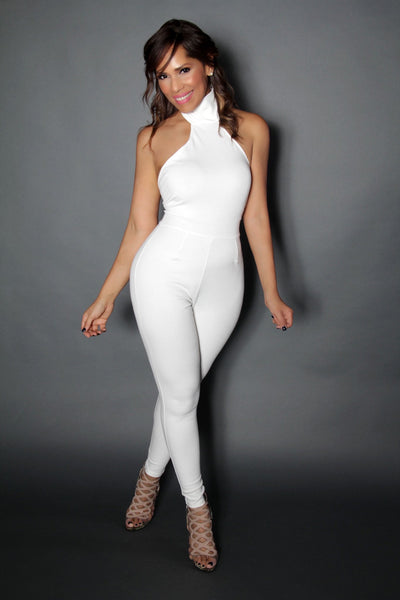 Backless Off White Turtle Neck Cocktail Party Sleeveless Jumpsuit - MY SEXY STYLES