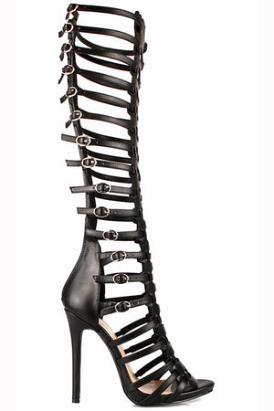 Bailey Knee High Strappy Caged Cut Out Open Toe Dress Sandals