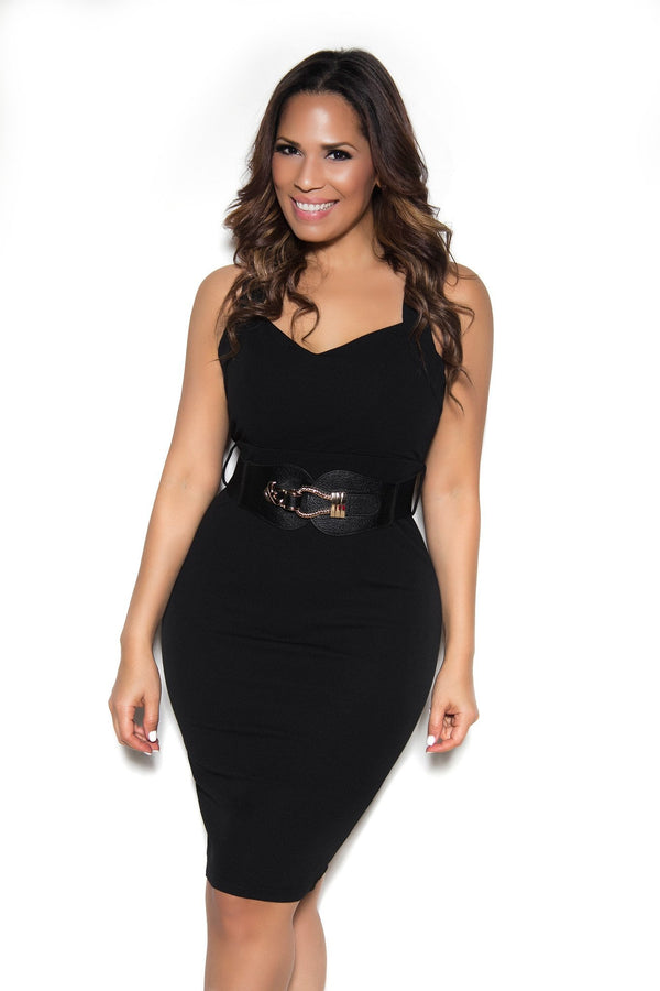 Belted Sleeveless Bodycon Dress with Semi-Sweetheart Neckline In Black - MY SEXY STYLES  - 1