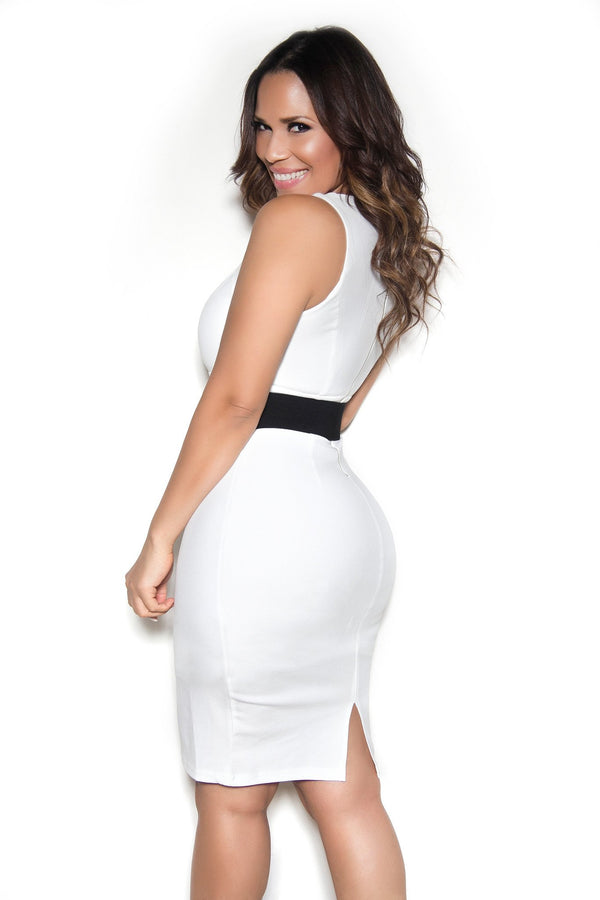 Belted Sleeveless Bodycon Dress with Semi-Sweetheart Neckline In Ivory - MY SEXY STYLES  - 2