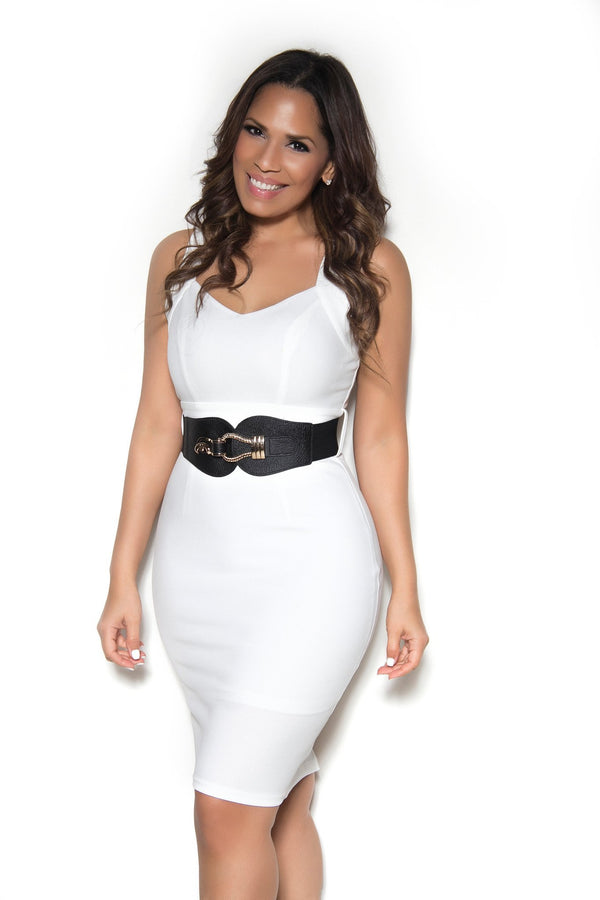 Belted Sleeveless Bodycon Dress with Semi-Sweetheart Neckline In Ivory - MY SEXY STYLES  - 1