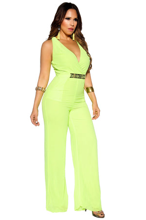 Belted V-Neck Sleeveless Full Length Neon Lime Jumpsuit - MY SEXY STYLES