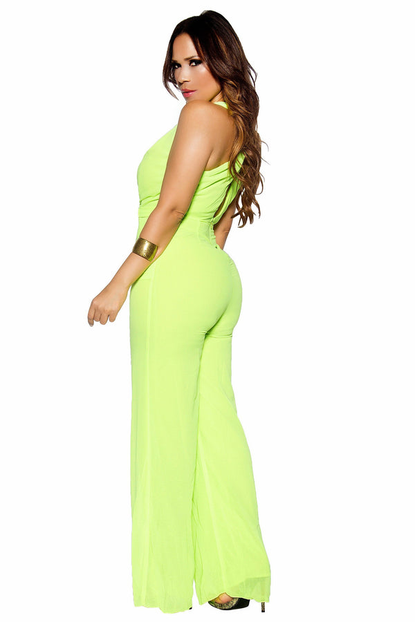Belted V-Neck Sleeveless Full Length Neon Lime Jumpsuit