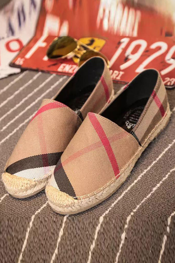 Check Canvas Flat Espadrille - Classic Check