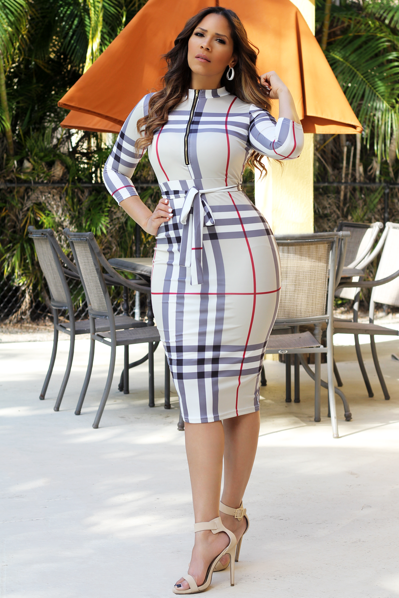 Berry Khaki Grid Quarter Sleeves Bodycon Dress