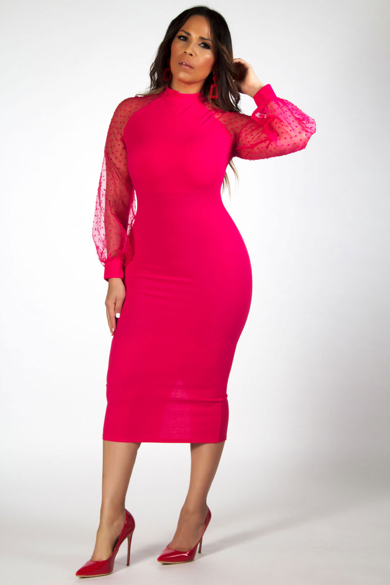 Bethany Mock Neck Mesh Long Sleeves Midi Dress in Hot Pink