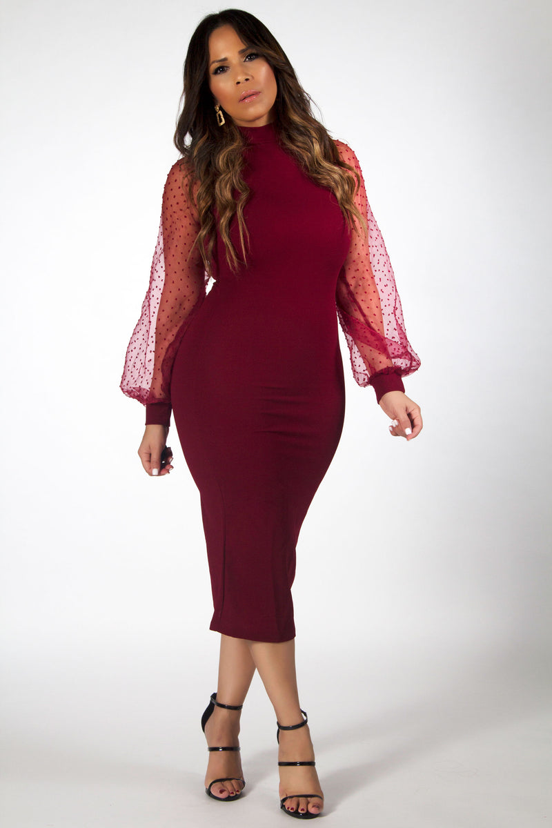 Bethany Mock Neck Mesh Long Sleeves Midi Dress in Burgundy