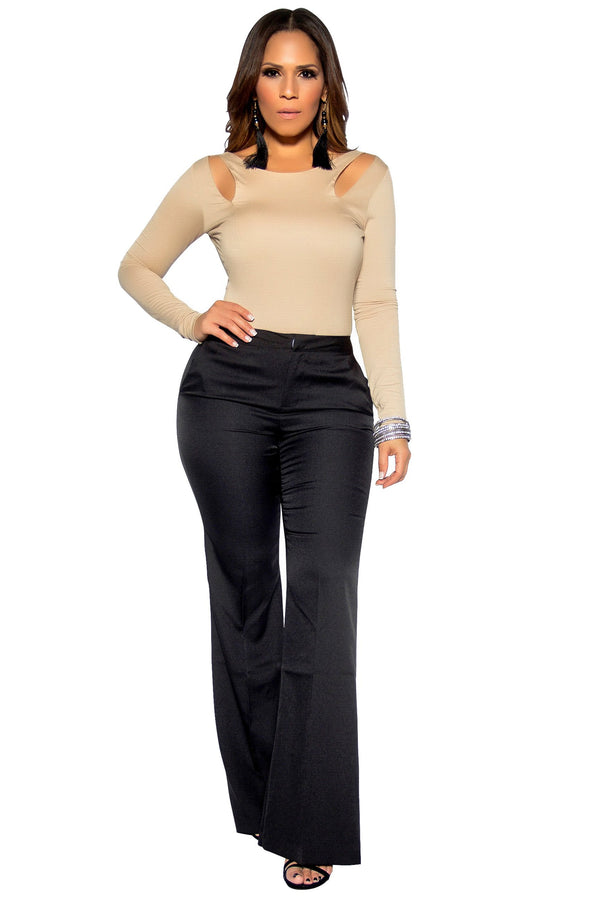 Black Bell Bottom High Waist Pants