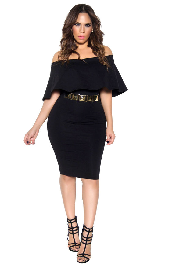 Black Bodycon Off Shoulder Ruffle Frill Midi Dress - MY SEXY STYLES  - 1