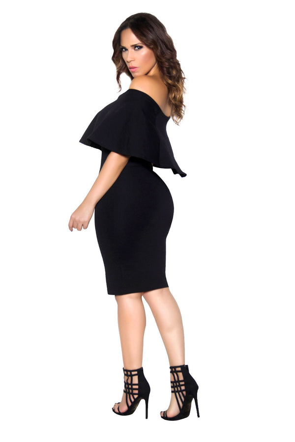 Black Bodycon Off Shoulder Ruffle Frill Midi Dress - MY SEXY STYLES  - 3