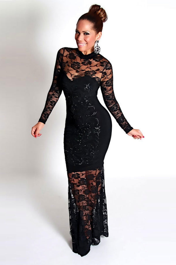 Black Glam Laced Long Sleeves Bodycon Gala Dress - MY SEXY STYLES