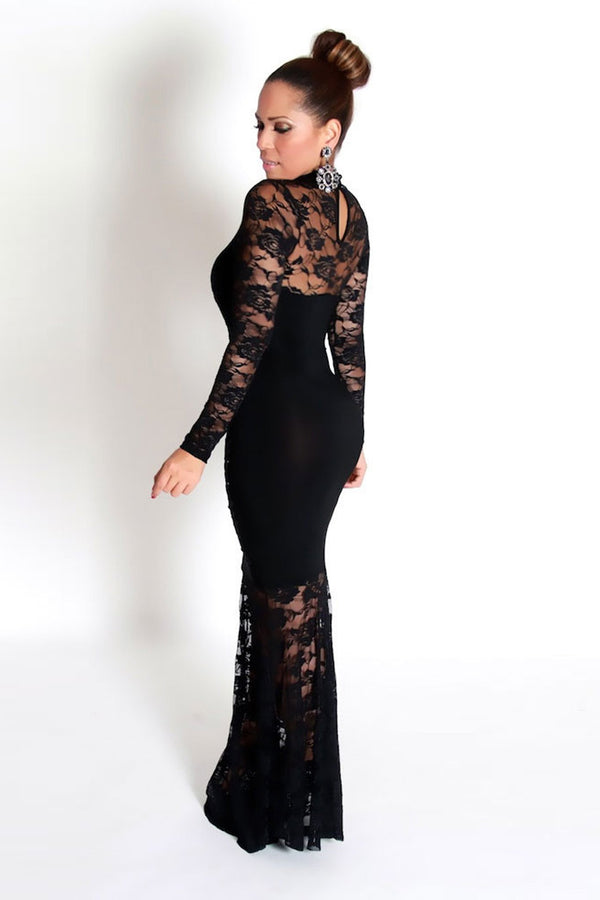 Black Glam Laced Long Sleeves Bodycon Gala Dress - MY SEXY STYLES  - 7