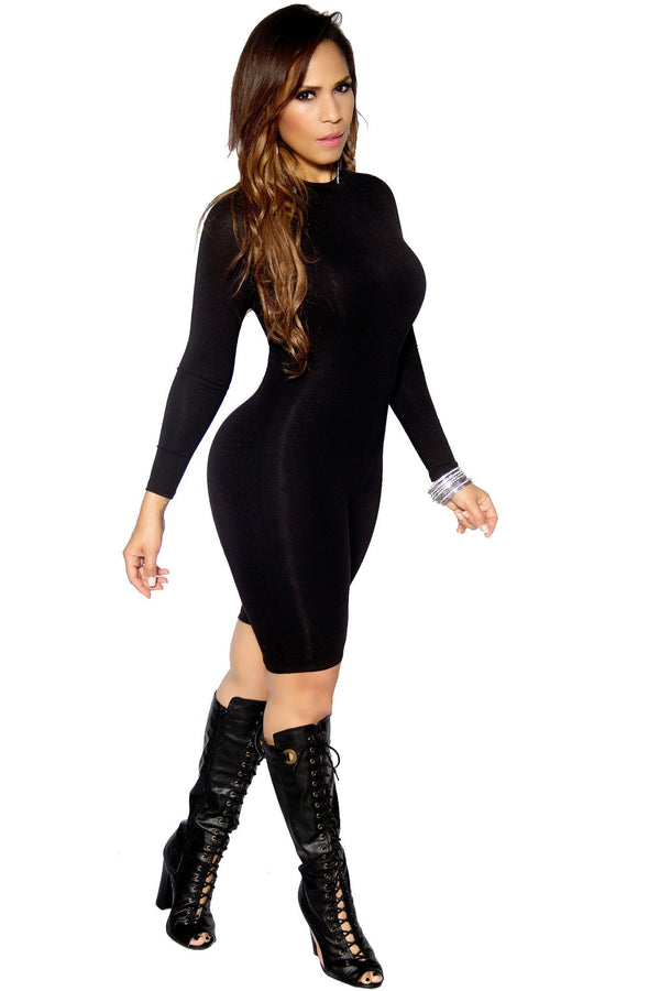 Black Long Sleeve Spandex Bodycon Romper