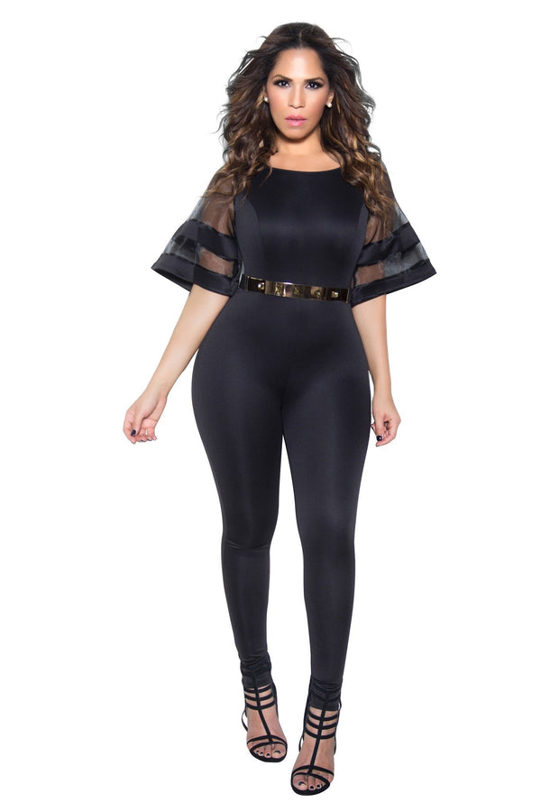 Black Mesh Frill Sleeve Bodycon Jumpsuit - MY SEXY STYLES  - 1