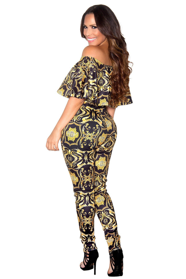 Black Baroque Print Frill Sleeve Off Shoulder Bodycon Jumpsuit