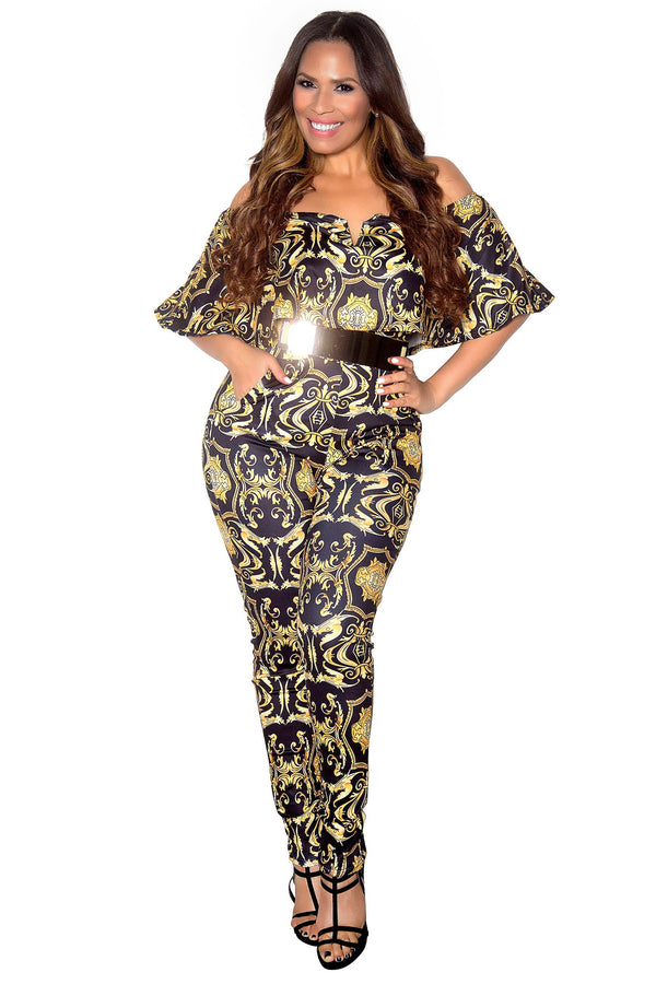 Black Baroque Print Frill Sleeve Off Shoulder Bodycon Jumpsuit - MY SEXY STYLES