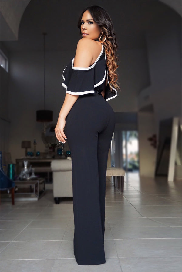 Sophia Black Belted Cutout Shoulder Ruffle Frill Palazzo Jumpsuit