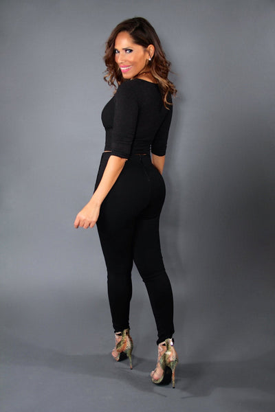 Classy Black Quarter Sleeves Sweater Top - MY SEXY STYLES  - 3