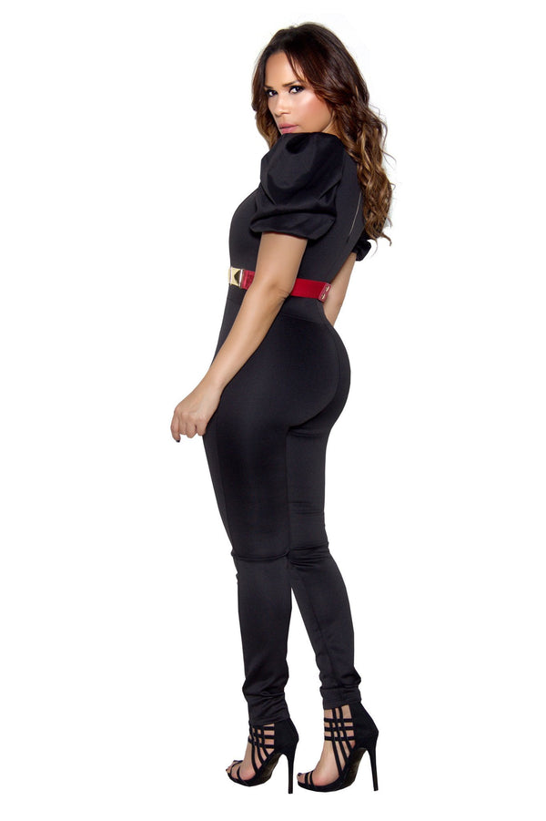 Black Bodycon Plunging Pleated Sleeve Jumpsuit - MY SEXY STYLES  - 6