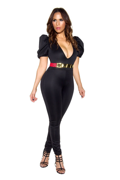 Black Bodycon Plunging Pleated Sleeve Jumpsuit - MY SEXY STYLES  - 4