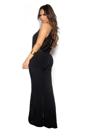 Black Boho Chic Crochet Insets Bell Bottom Jumpsuit - MY SEXY STYLES
