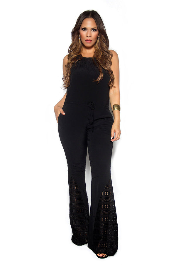Black Boho Chic Crochet Insets Bell Bottom Jumpsuit