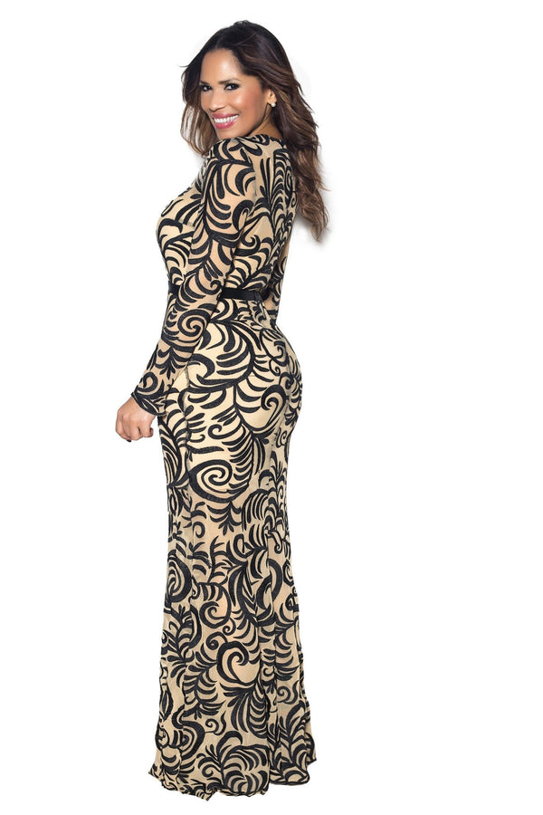 Black Embroidered Long Sleeve Mermaid Maxi Dress - MY SEXY STYLES  - 2