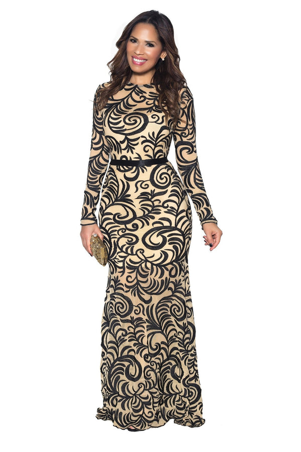 Black Embroidered Long Sleeve Mermaid Maxi Dress - MY SEXY STYLES  - 3