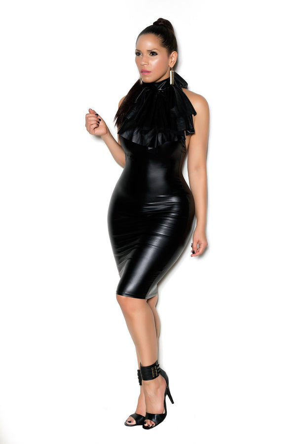 Black Faux Leather Halter Ruffle Neckline Midi Dress - MY SEXY STYLES  - 2