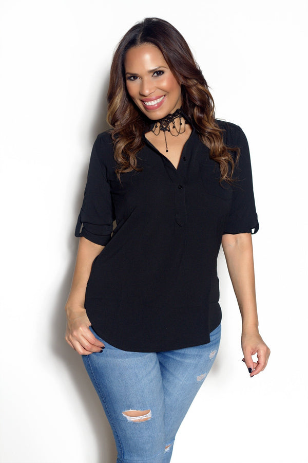 Black Half Button Down Tunic Blouse - MY SEXY STYLES  - 1