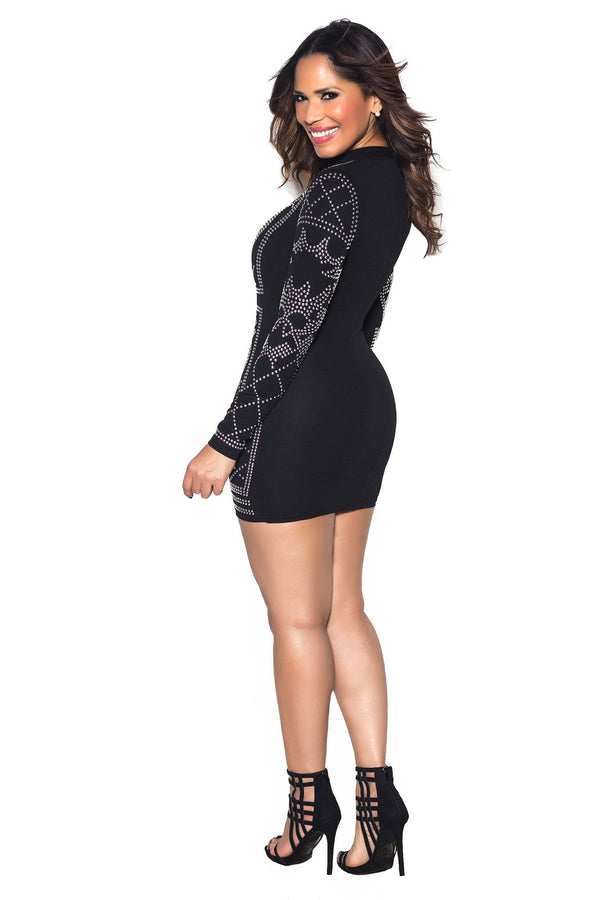 Black Iridescent Luxe Pattern Long Sleeve Bodycon Dress - MY SEXY STYLES  - 4