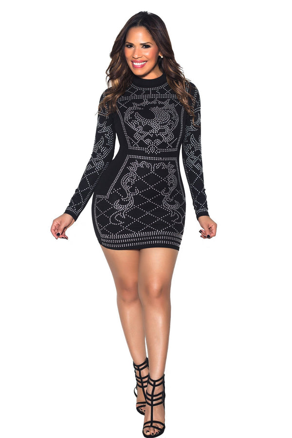 Black Iridescent Luxe Pattern Long Sleeve Bodycon Dress - MY SEXY STYLES  - 1
