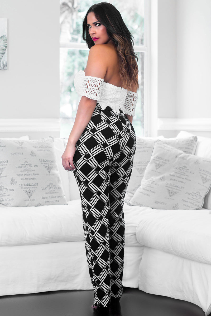 Adelaide Black Ivory Off The Shoulder Floral Crochet Lace Top Print Bottom Jumpsuit - MY SEXY STYLES