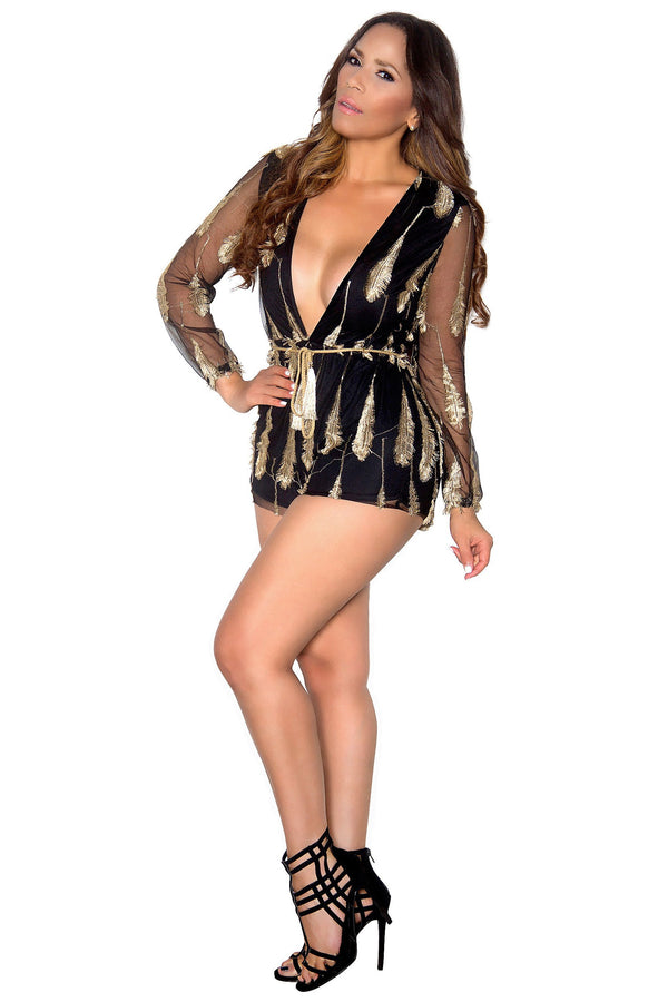 Black Long Sleeve Gold Accent Feather Plunging Sexy Romper