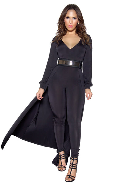 Black Long Sleeve Maxi Bodycon Jumpsuit - MY SEXY STYLES  - 2