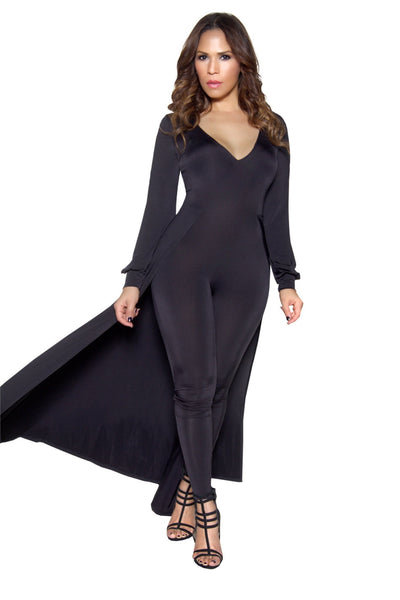 Black Long Sleeve Maxi Bodycon Jumpsuit - MY SEXY STYLES  - 4