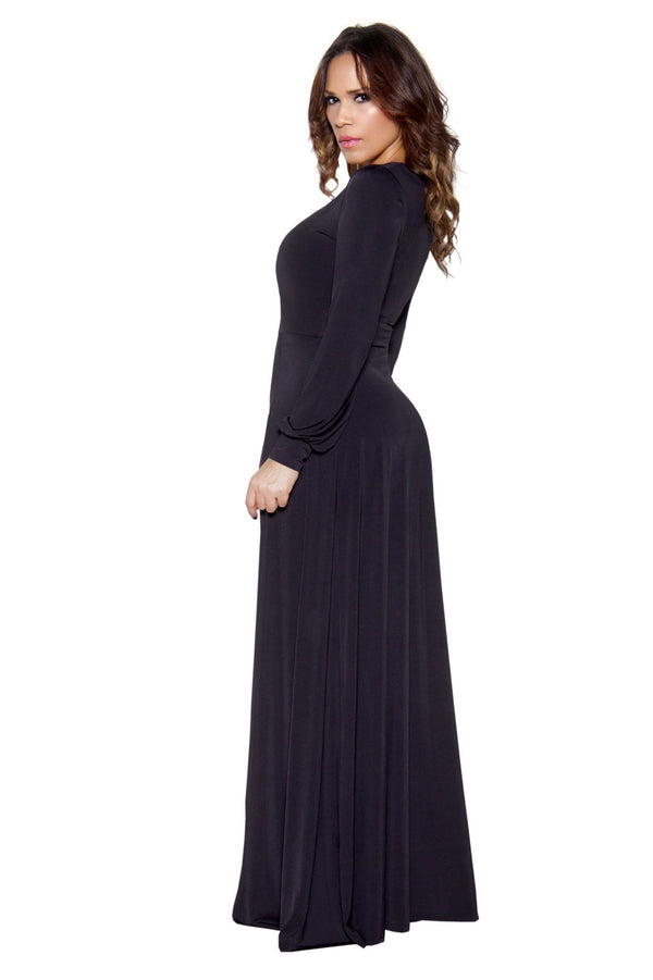 Black Long Sleeve Maxi Bodycon Jumpsuit - MY SEXY STYLES  - 5